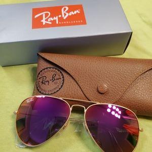 Ray Ban Aviator Sunglasses Pink NEW